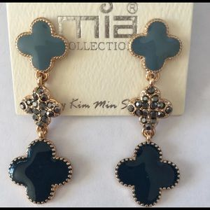 Blue Dangling Clover Earrings Party Bridesmaids